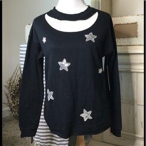 NWT cutout sweatshirt with sequin stars